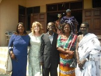 Left to right Angela Awuah (National Director EE Ghana) Toni Moffatt (EE West Africa),  Pastor Isaac and Laura Apenteng (Area Director, TMC West Africa) and Mr. Lord..